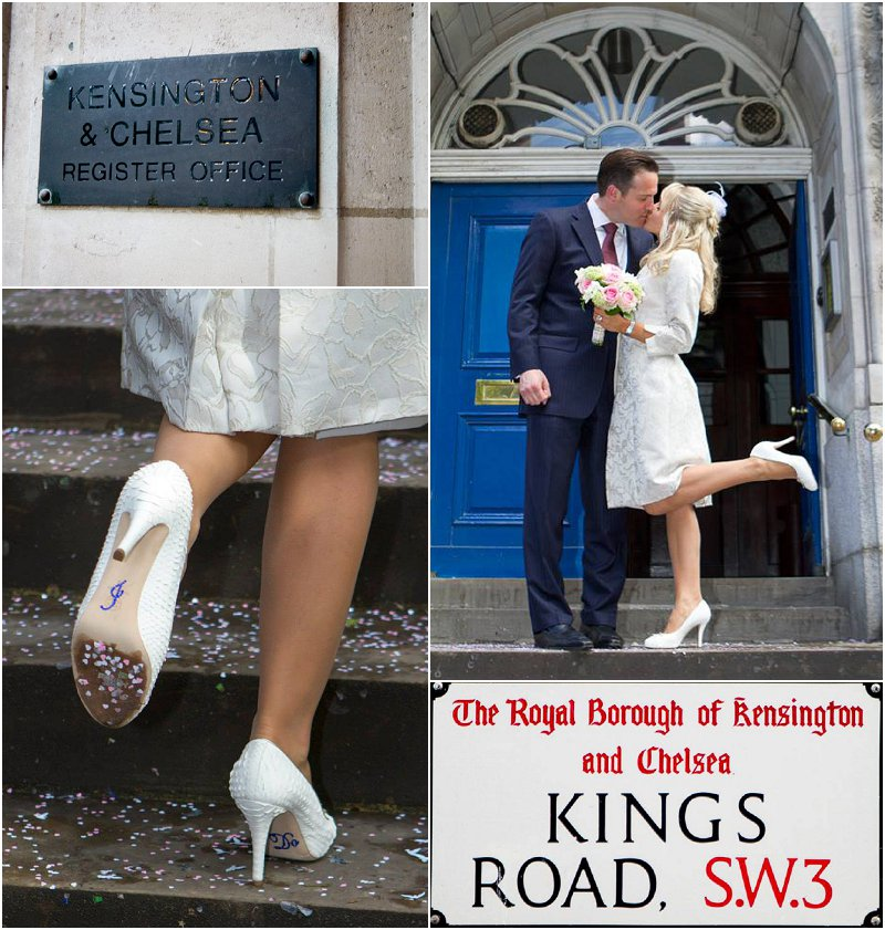 Beautiful Couple at intimate Chelsea Town Hall ceremony with gorgeous customised Chanel shoes