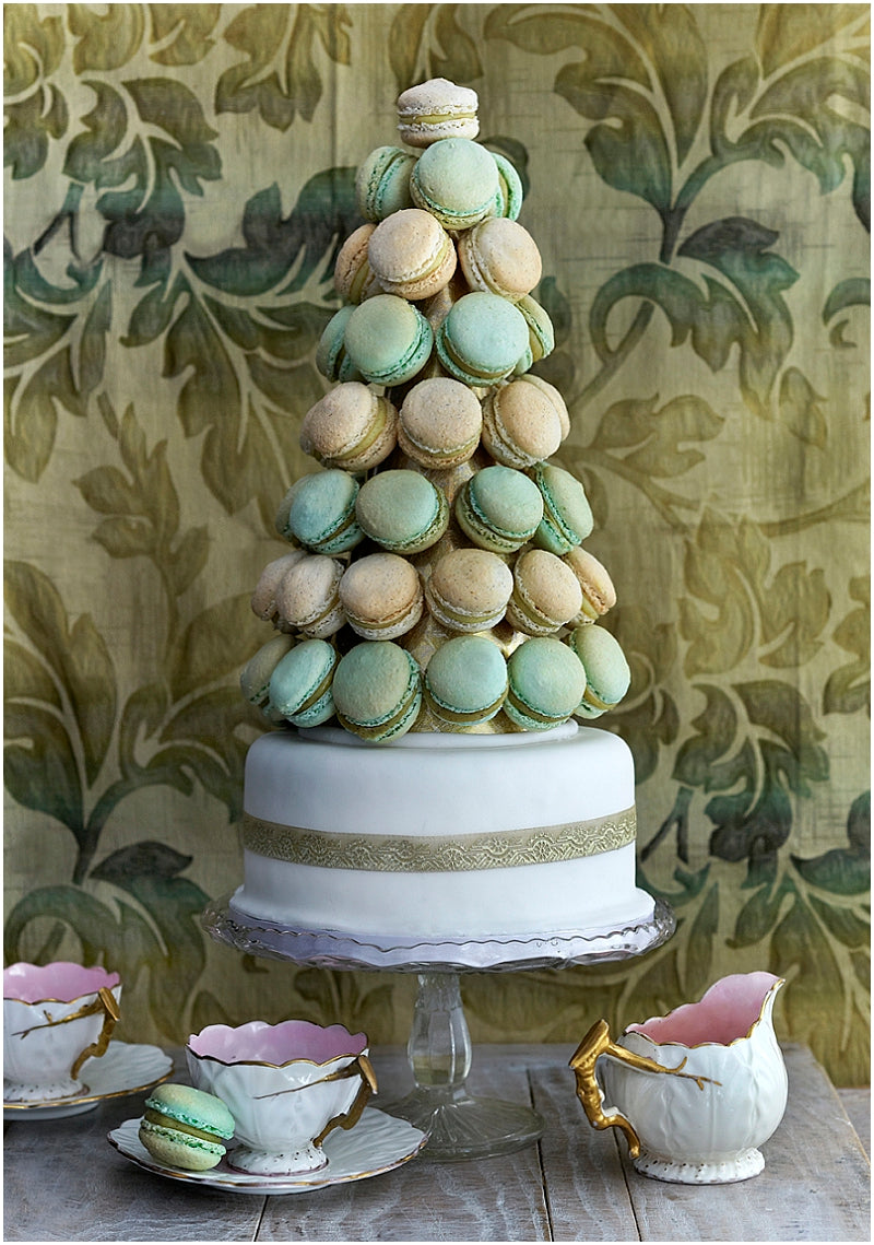 macarons-macaroons-london-uk-wedding-favours-magazine-pistachio-vanilla-tower-cake