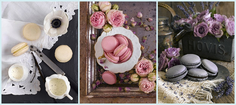 Vanilla, Rose and Lavender Macarons