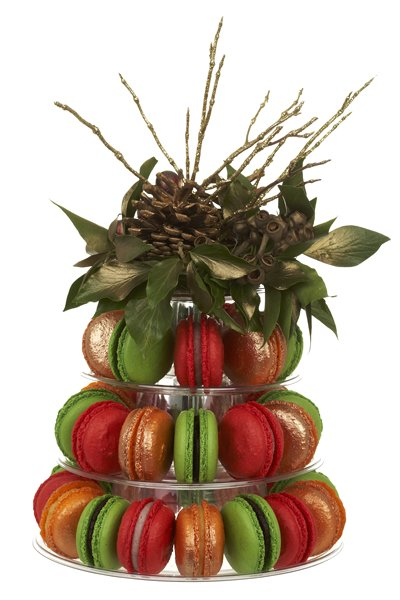 Christmas macaroon tower gift