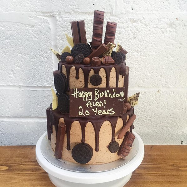 Two-tiered chocolate birthday cake