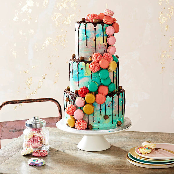 Watercolour Macaron Wedding Cake