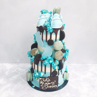 "2-tier 4&6""Blue Baby Shoe Cake"