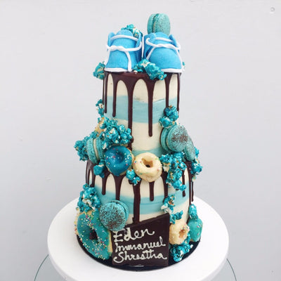 "2-tier Customised Blue Baby Shoe 4&6"" Cake"