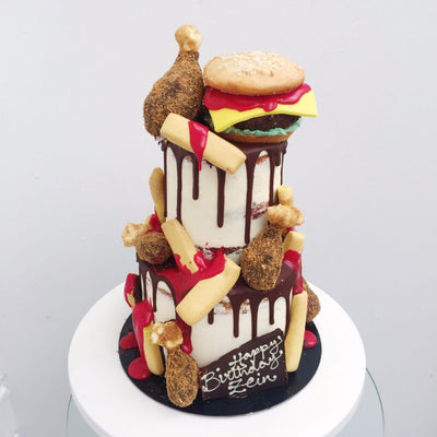 "2-Tier Fast Food 4&6"" Cake"