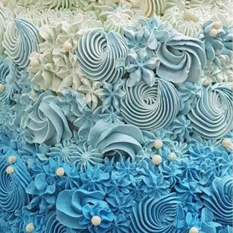 Blue Dip Dyed Ombre Buttercream Wedding Cake