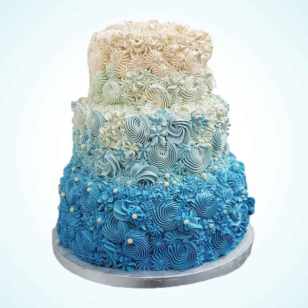 Ombre Blue Swirl Wedding Cake