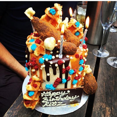 Fried Chicken and Waffle Birthday Cake