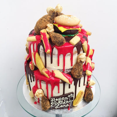 "Two tier Fast food 8 and 10"" Cake"