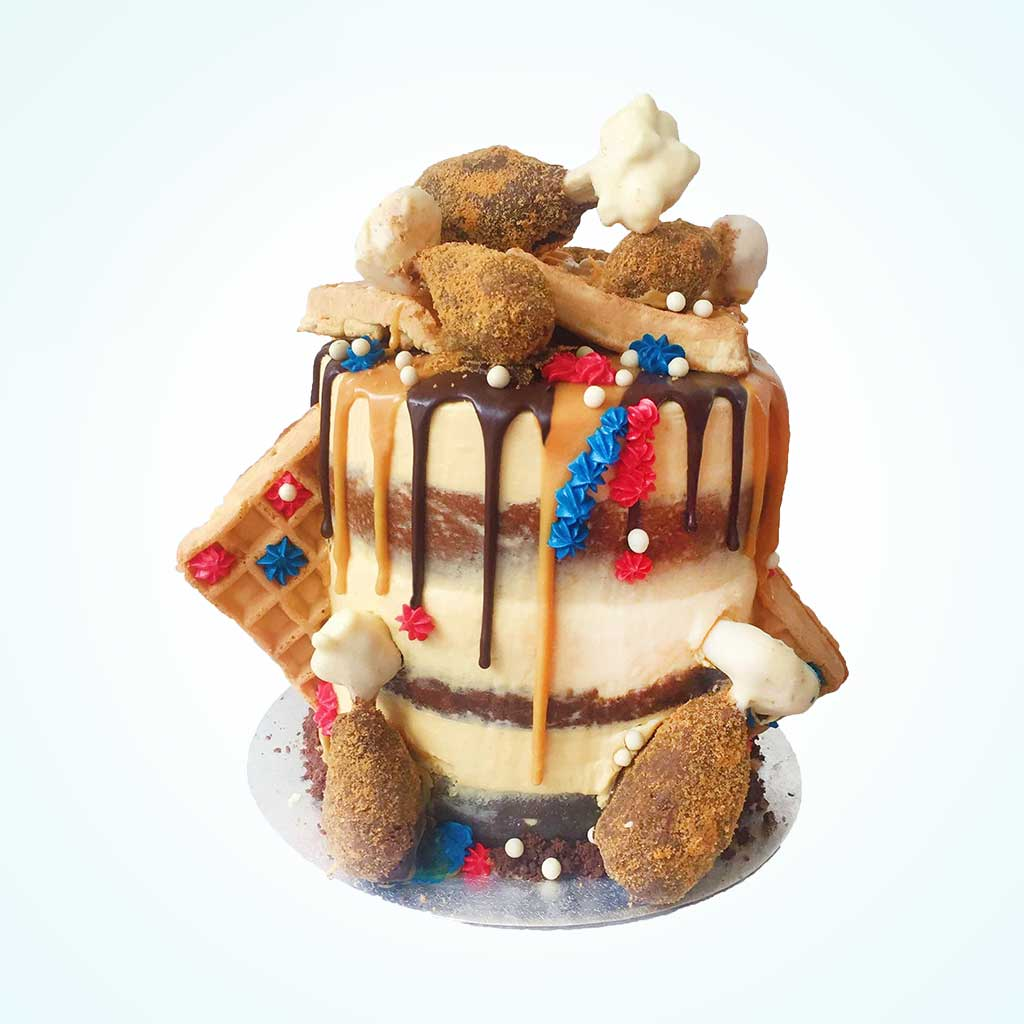 Triple Decker Faux Fried Chicken 'n' Waffle Cake
