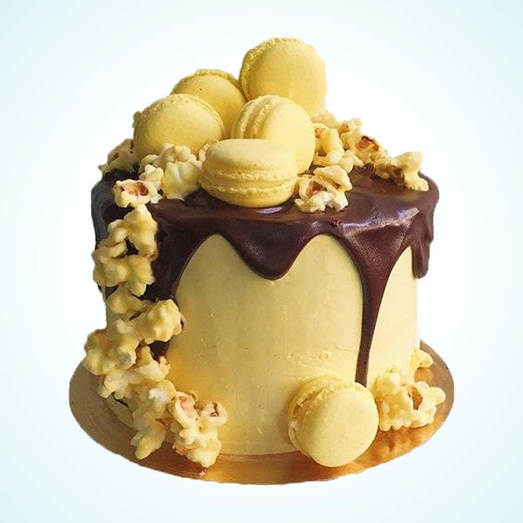 Hello Yellow! Candied Popcorn Macaroon Cake