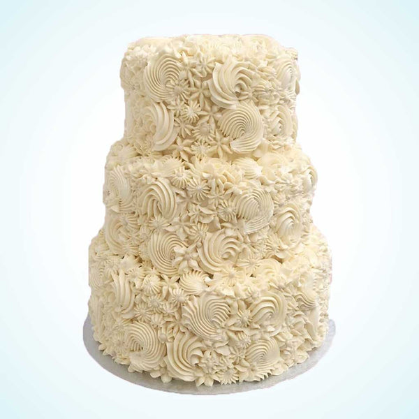 Ivory Flourish Wedding Cake