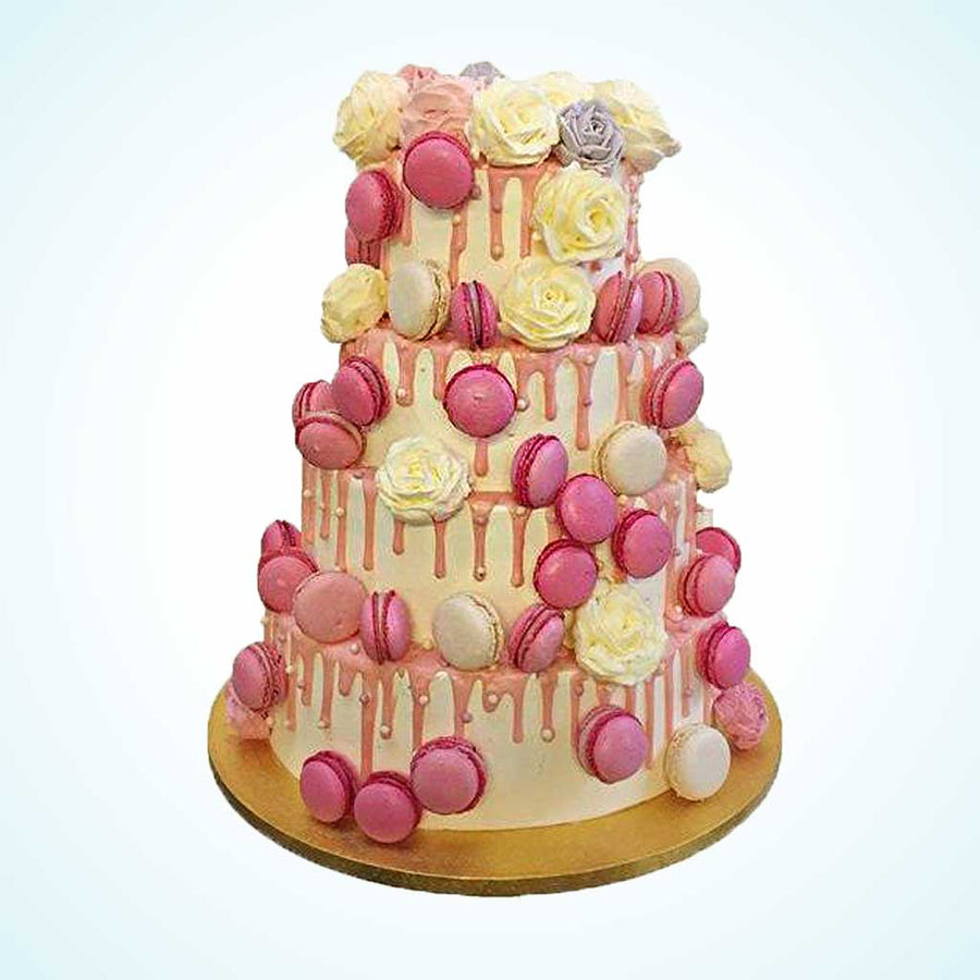Midsummer Macarons and Roses Wedding Cake