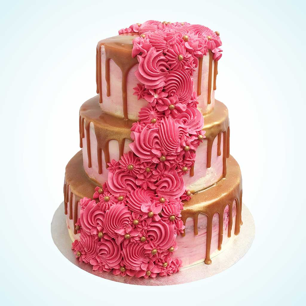 Pink Watercolour Cascade Wedding Cake