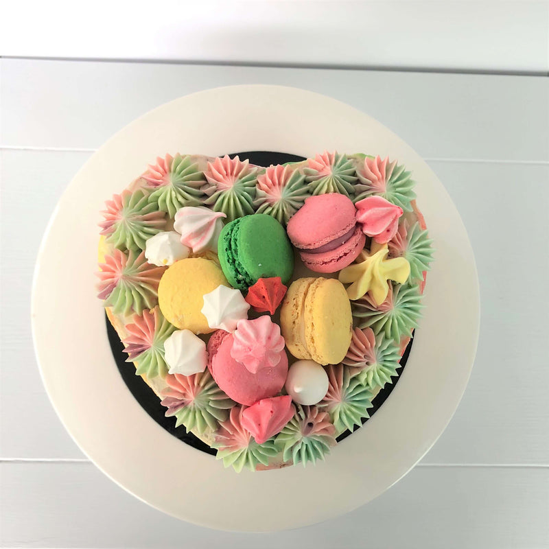 Pastel Paris Heart Cake