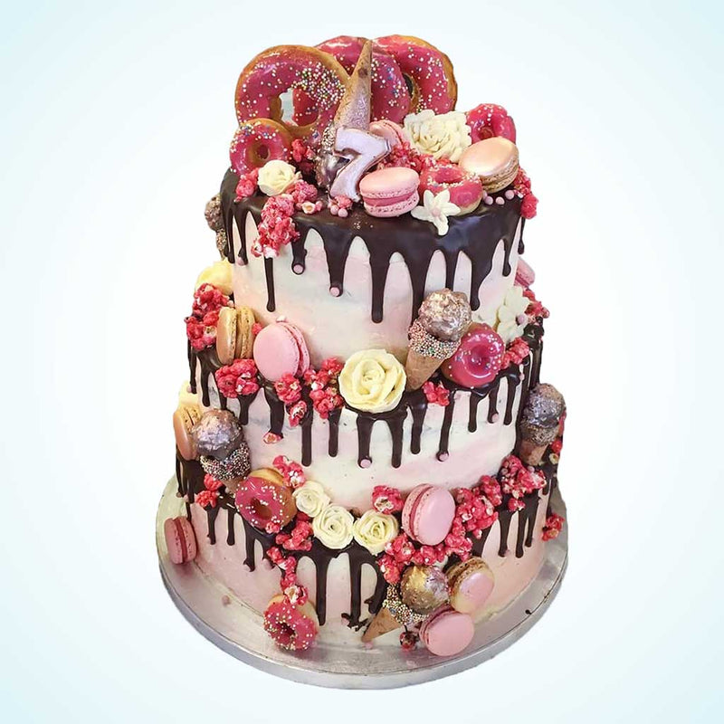 Pink Carnival Tiered Wedding Cake