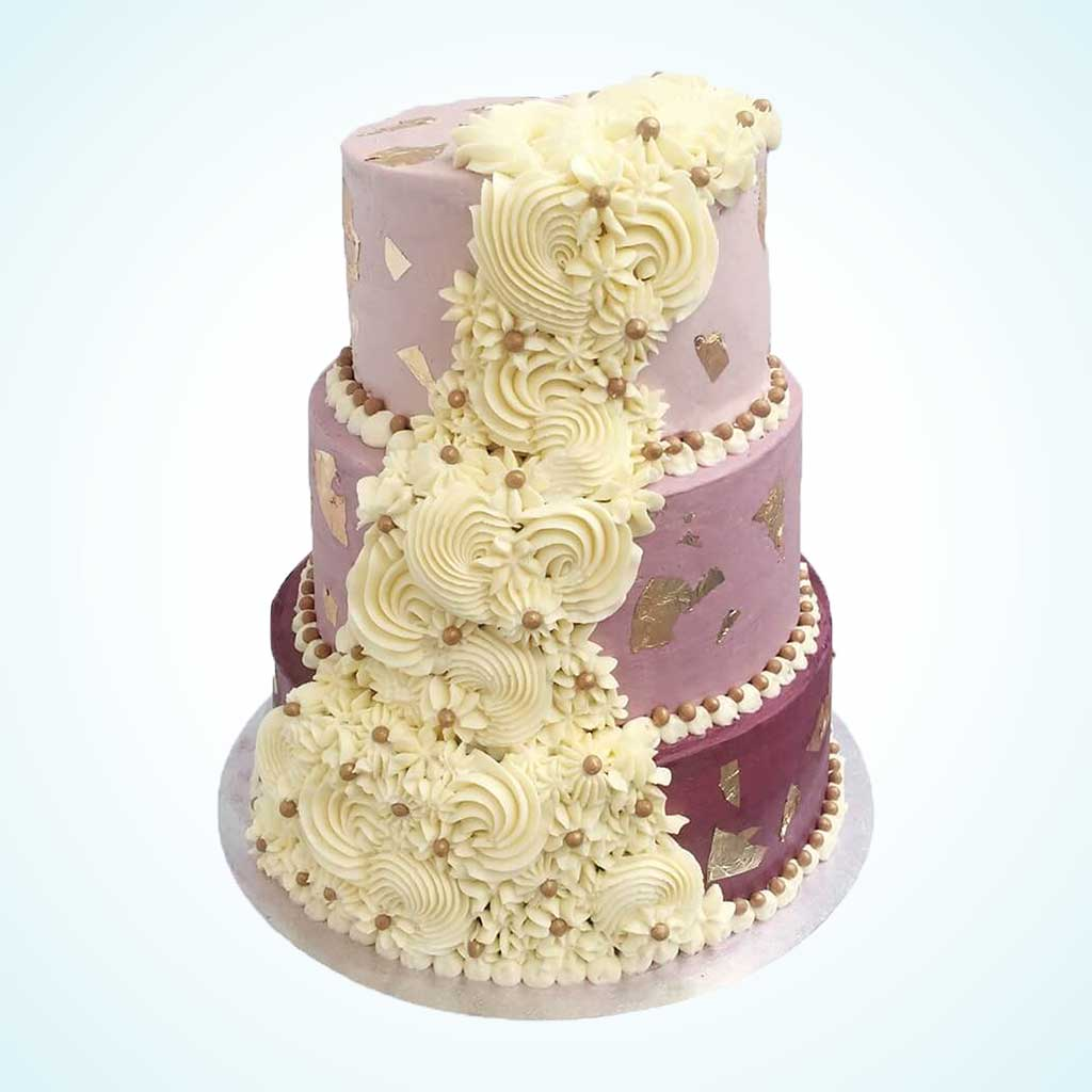Royal Cream Cascade Purple Wedding Cake