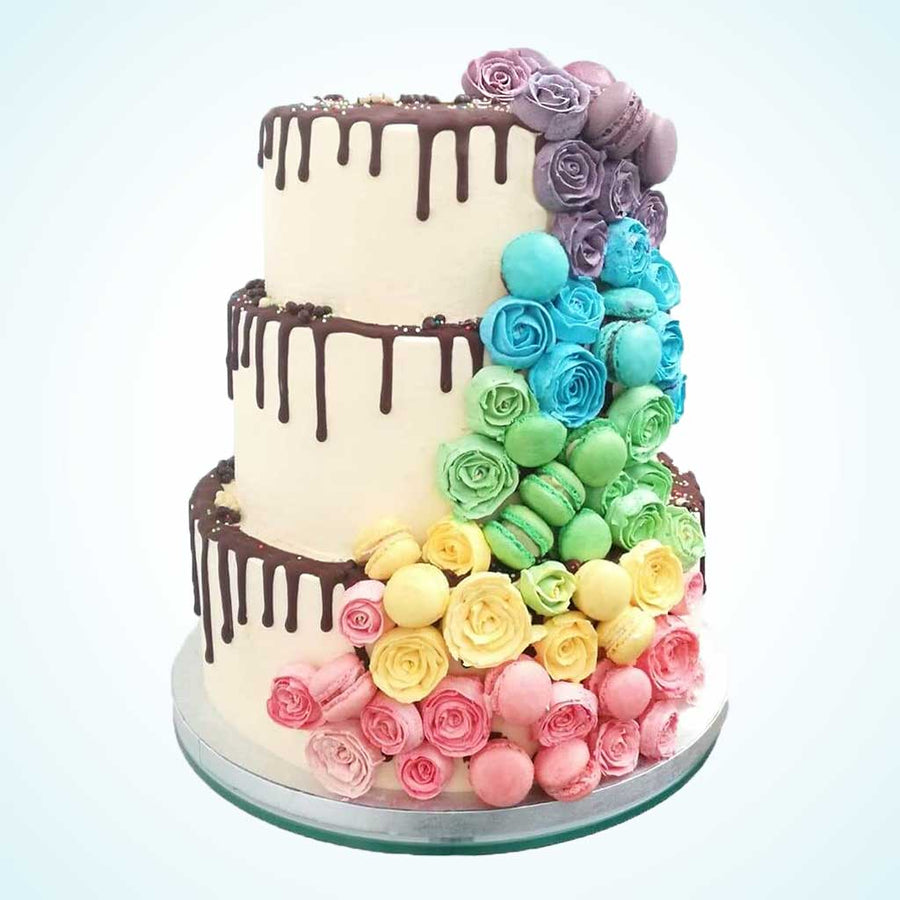 Rainbow Cascade Wedding Cake