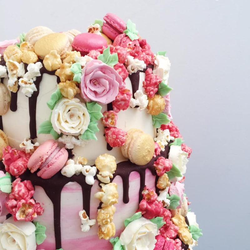 Pink Rose Romance Wedding Cake