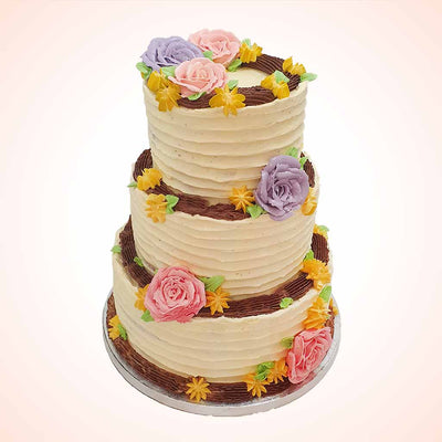 Rustic flower wedding cake