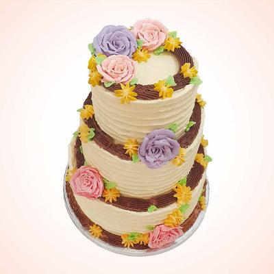 Rustic flower wedding cake in London