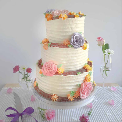 Rustic flower wedding cake to order