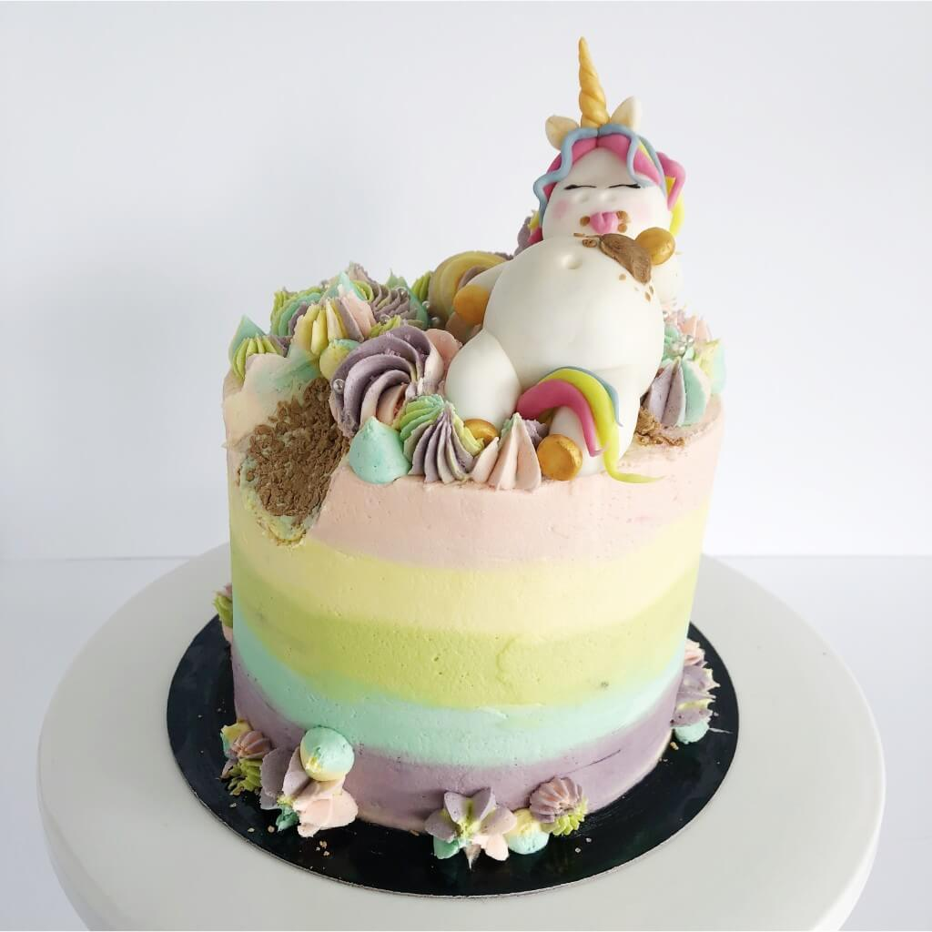 Funny Unicorn Vegan Birthday Cake