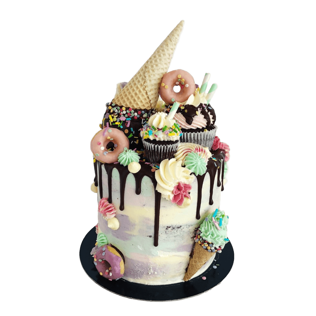 Vegan Ice Cream Drip Birthday Cake