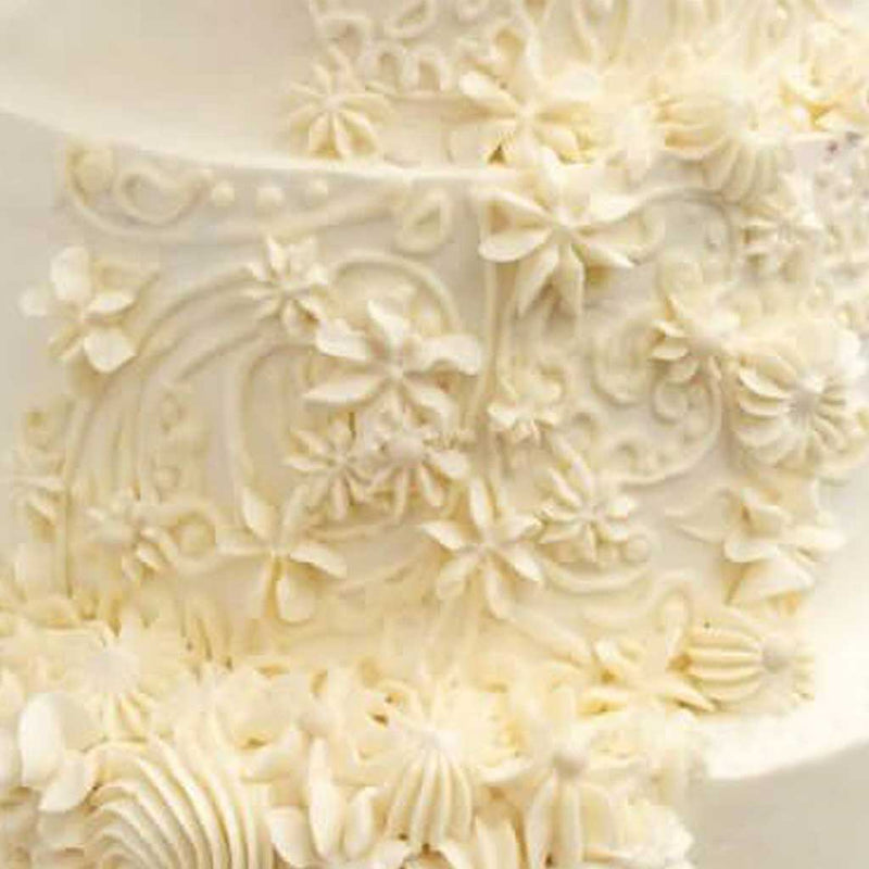 Vintage Lace Buttercream Brocade Wedding Cake
