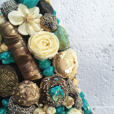 Blue Gold Wedding Cake