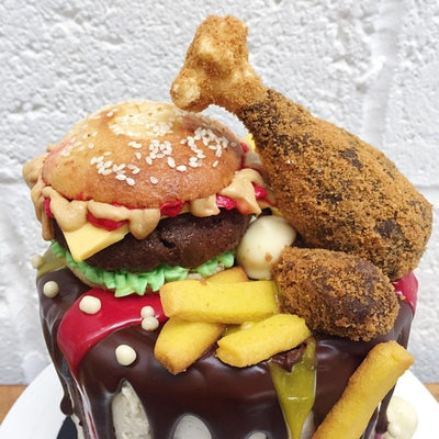 Burger Chips Chicken Cake