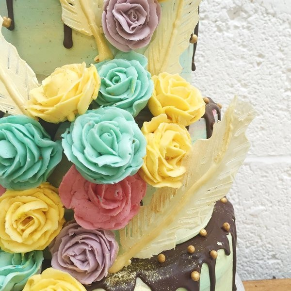 Featherlight Floral Wedding Cake