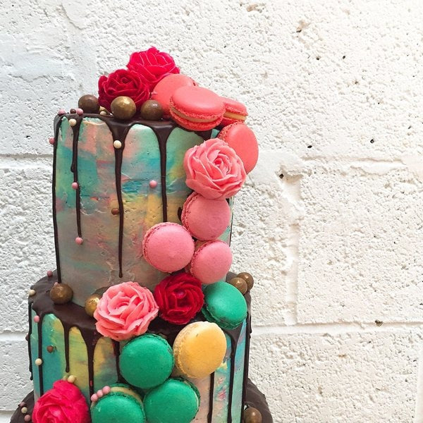 Watercolour Macaron Cascade Wedding Cake