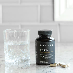 Hyrbal Renew T Support Supplement with Glass of Water