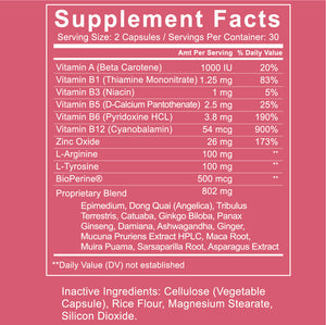 Play for Women Supplement Facts Zoom