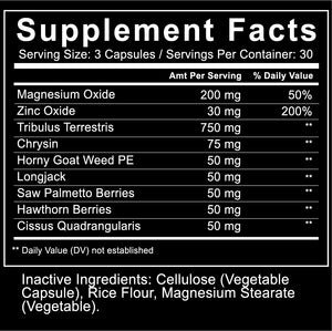 Hyrbal Renew T Support Supplement with Supplement Facts Zoom Tribulus Chrysin Horny Goat Weed Longjack Saw Palmetto Hawthorn Berries Cissus Quadrangularis