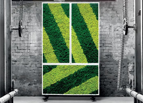 Dark and light green moss in striped pattern on mobile wall with industrial background