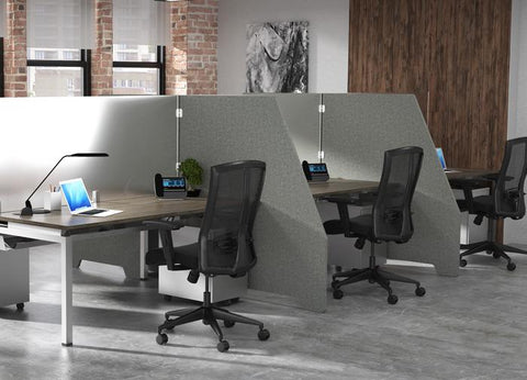 2 workstations in a pod of 4 with gray PET wing dividers
