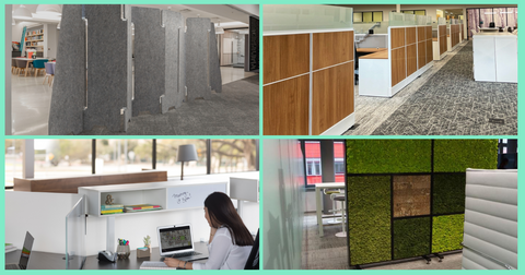 4 images of different types of dividers: PET, cubicles, frosted glass, moss wall