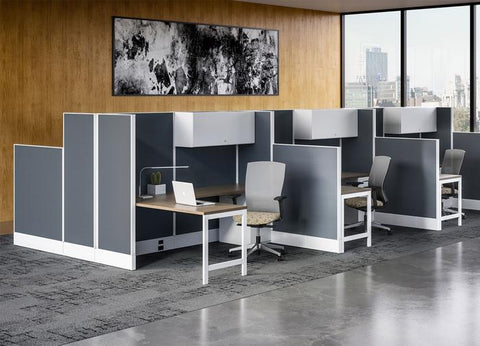 Gray and white cubicles, group of 6