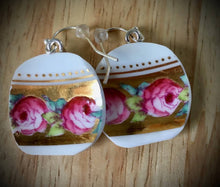 Load image into Gallery viewer, Up cycled vintage ceramic earrings