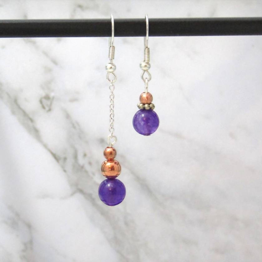 Asymmetric fluorite sterling silver earrings in Jewellery bottle