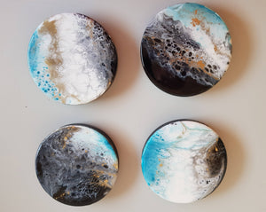 Coasters, Aqua, black, white and gold - Set of 4