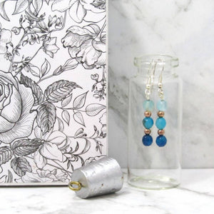 Agate Ombre sterling silver earrings in Jewellery bottle