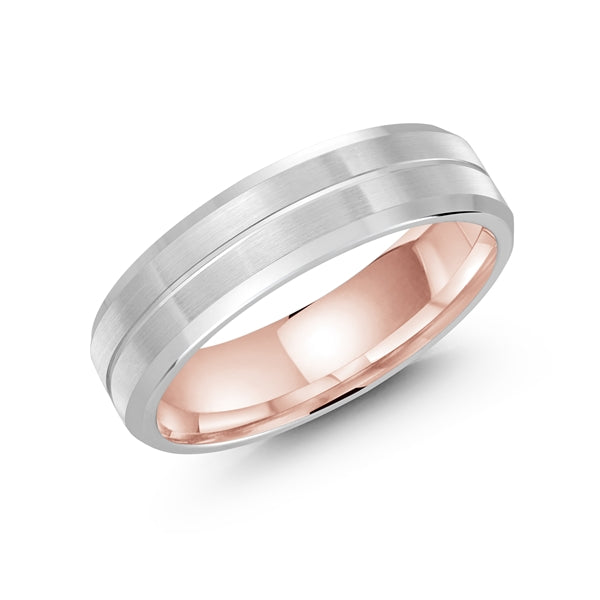 10K White & Rose Gold Wedding Band