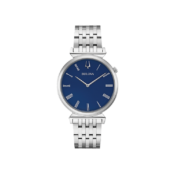 Bulova Ladies' Silver Tone Blue Face Watch 96A233