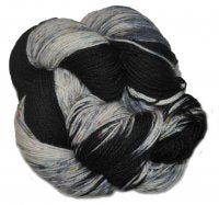 Speckled BFL Platinum - Black Rainbow