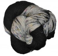 Speckled BFL Tight Twist - Black Rainbow