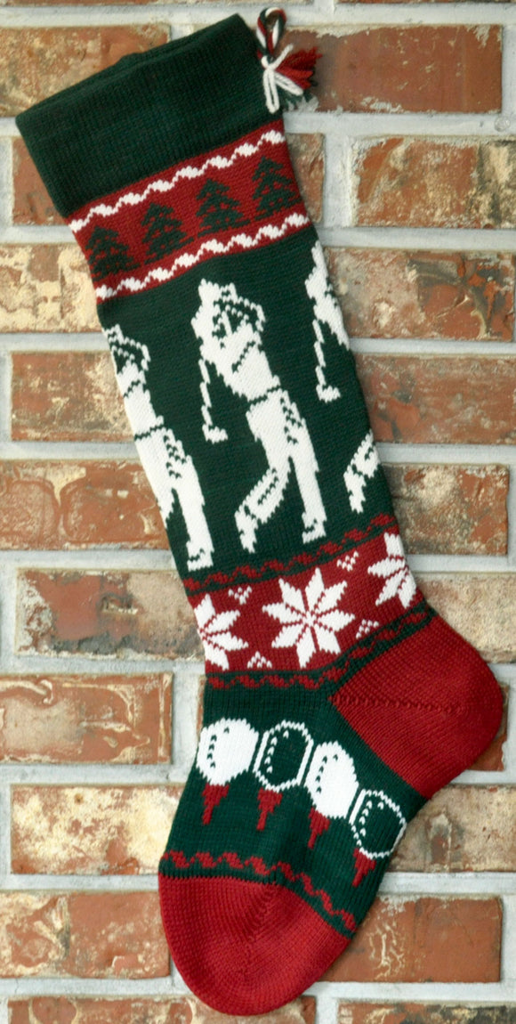 Personalized Knit Wool Christmas Stocking - Male Golfer