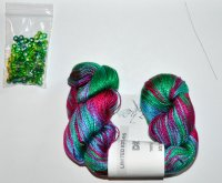 Hand Knit Jewelry Kits - Dryad Drops Kerchief Kit - Blue, Magenta, and Green
